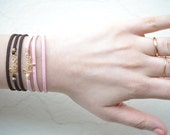 Gold plated personalized bracelet with your name with leather bracelet - Perfect for Mother's Day, Wedding, Bridesmaid gifts, gift for her