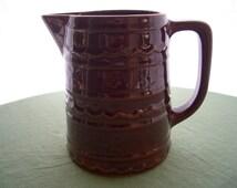 Vintage Marcrest USA Pottery Pitcher Daisy Dot Brown 6'' Pitcher