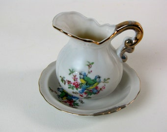 Vintage White Ceramic Mini Pitcher and Bowl with Birds Gold Trimmed