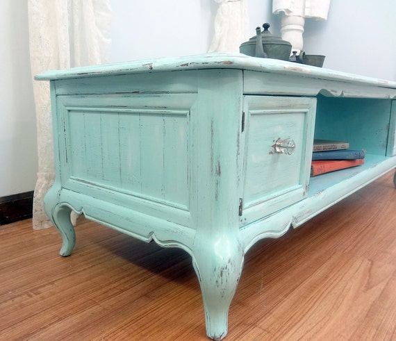 Shabby Chic Corner Coffee Table: Shabby Chic Robins Egg Blue Coffee Table