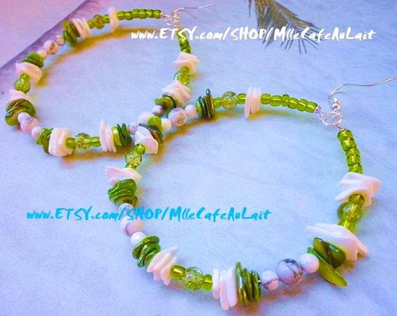 Puka Shell, Abalone Shell, White Marble, Crackle Glass Beaded Hoop Earrings - TIDE POOL