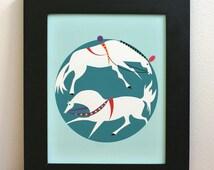 Horses illustration, nursery or children's home decor. 8 in x 10 in.