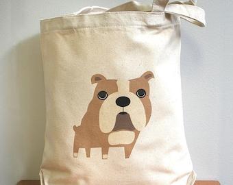 Canvas tote bag, bulldog. Sturdy 100% 10oz. cotton canvas.
