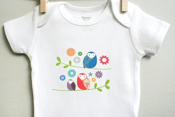 Baby girl clothes owls baby onesie baby by squarepaisleydesign