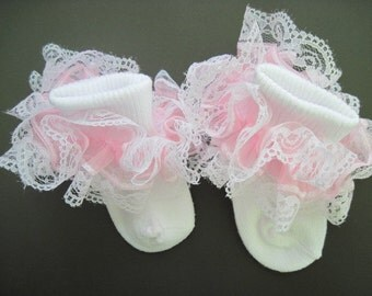 Ruffled Socks With White Lace, in Nylon or Cotton Blend for Flower Girl, Pageant, Dance, Birthday Party, Wedding