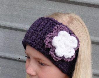 Crochet Head/Ear Warmer - Purple w/ White flower- Child to Adult - adjustable with buttons