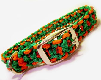 Green and Orange Large Dog Macramé Collar