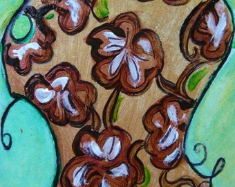 "Floral Expressionist ACEO ""Funny coffee flowers framed in green""  Mixed media Original by Gioia Albano"