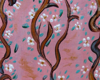 """Nature ACEO Spring Seasons """"Spring branch with pink sky""""  Mixed media Original by Gioia Albano"""