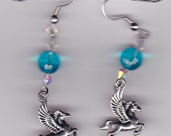 Pegasus Earrings-Tibetan Silver with Blue and Clear Swarovski Beads