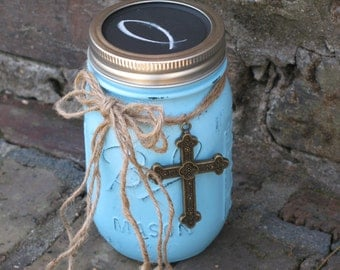 Scripture Jar, Turquoise with Chalkboard Lid - Contains 50 Encouraging Bible Verses