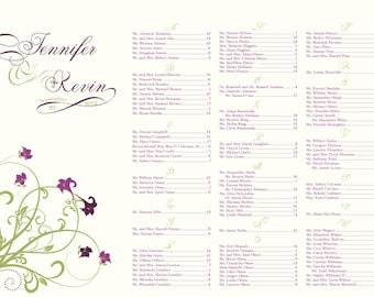 Floral swirl vine wedding seating chart - DIY printable 24 hour turnaround purple