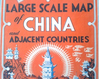 "1945 Large Scale Map of China and Adjacent Countries ""Geographia"" Map Co."