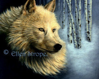WOLVES White Wolf  9 x 12- Giclee Print Wolves-Beautiful