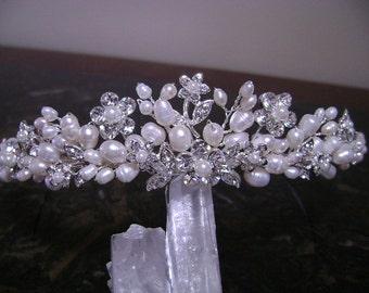 Freshwater Pearl and Rhinestone Bridal Tiara/Freshwater Pearl & Rhinestone Wedding Headpiece, Wedding Hair Accessory, Bridal Hair Jewelry,