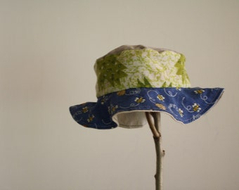 Baby reversible sun hat: eco friendly, upcycled, OOAK