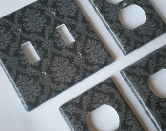Black and Gray Damask Double Light Switch Plate