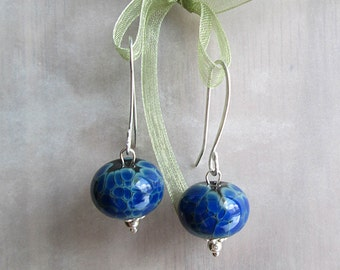 Blue Earrings Lampwork Earrings Handmade Blue Earrings Dangles Beadwork