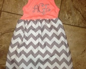 Personalized chevron tank dress