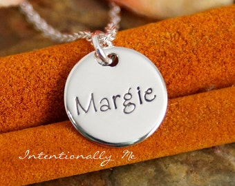 Hand Stamped Mommy Necklace - Personalized Jewelry - Sterling Silver Mommy Jewelry - Mini Name Tag