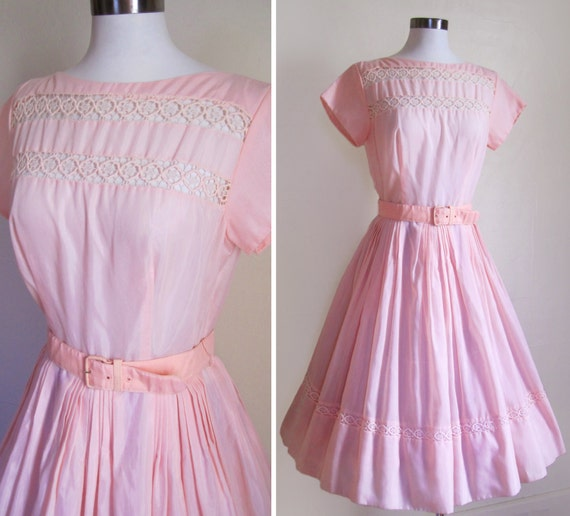 50s Pink Sheer Cotton Cupcake Dress with EYELET LACE Panels