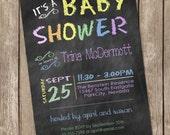 Pastel chalkboard baby shower invitation, chalkboard, pastel, printable invitation 20130119-K1-5B