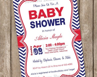 Navy and red baby shower invitation, chevron, red, navy, printable invitation 20130121-K1-1