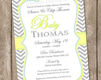 Neutral baby shower invitation, chevon, grey, yellow, teal, printable invitation 20130131-k1-2