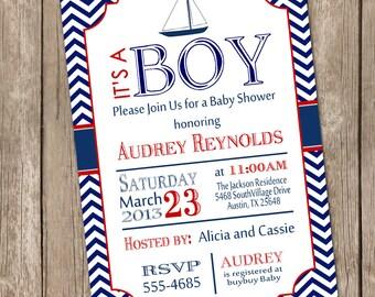 Chevron sailboat baby shower invitation, red, blue, sailboat, nautical, printable invitation