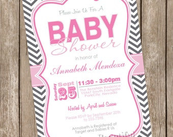 Pink and gray girl baby shower invitation, chevron, pink, grey, gray, typography, chevron invitation, printable invitation