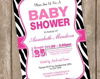 Girl Baby Shower Invitation Hot Pink and Black Zebra Baby Shower Invitation printable invitation 20130116-K1-1