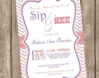 Sip and See Baby Shower Invitation Pink and Purple Chevron printable invitation 20121228-K1-1B