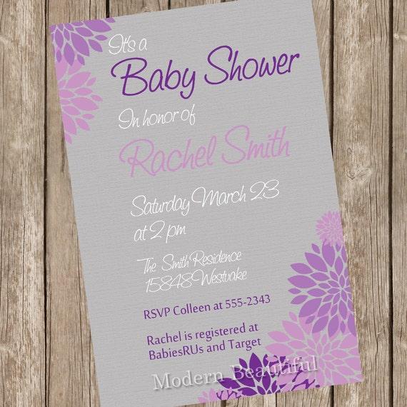 Neutral Baby Shower Invitation Purple And Grey Flower