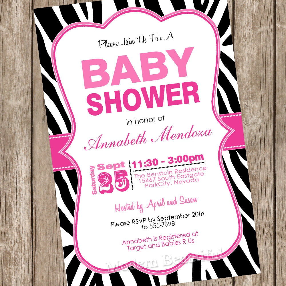 Girl Baby Shower Invitation Hot Pink And Black Zebra Baby