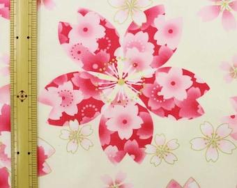 Sakura printed kimono design fabric  One yard