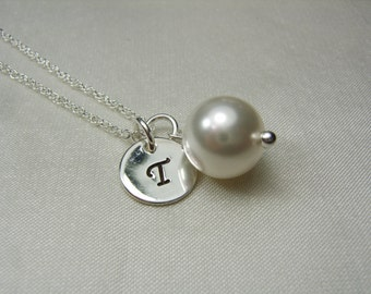 Initial Necklace Personalized Bridesmaid Necklace Pearl Bridesmaid Jewelry Monogram Bridesmaid Gift Mother of the Bride Gift Pearl Necklace