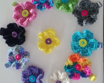 Crochet Flower Hair Clip with Button Center