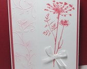 Birthday Card for Daughter, Beautiful Pink Flower, Embossed Background