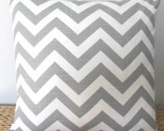 Gray Chevron Pillow. Throw Pillow. Decorative Pillow. Nursery Pillow. Accent Pillow. 16x16 Home Decor Pillow. Zig Zag Pillow. Gifts Under 50