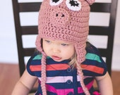 Pink Pig Crochet Hat with Earflaps Cute Photography Prop