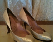 1930s 40s Champagne satin bridal sweet heart heels by DeMarco of California