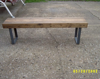 wooden bench metal legs