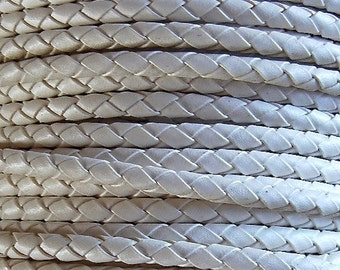 6 mm White Round Braided Bolo Faux Leather Cord, QUANTITY DISCOUNTS; 2yds, 4yds, 6yds