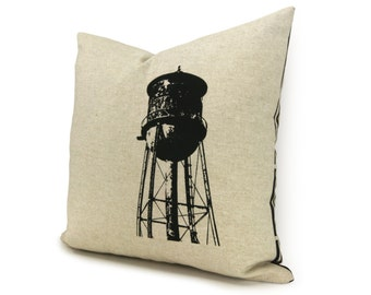 16x16 or 12x18 Water Tower Pillow Case | Black & Beige Old Water Tank Cushion Cover | Decorative Throw Pillow | Urban Industrial Home Decor