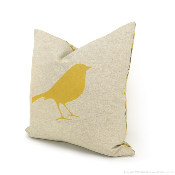16x16 Decorative Throw Pillow | Pillow Cover | Mustard Yellow Bird print on Natural Canvas and Geometric Back | Spring Summer Home Decor