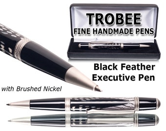 Handmade acrylic pen with feather for a winning executive pen. Ballpoint pen with a twist style Gift for lady boss or other office gift