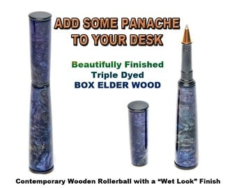 Wooden Pen - Rollerball with Box Elder Wood - Triple dyed and and finished to a glass like surface - awesome
