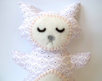 Cat Toy / Stuffed Animal - Sleepy Lilac and White Cat Pillow