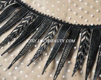 Black Venice Lace Trim Big Eyelash Leather Wedding Lace Trim 5.3 Inches Wide 1 Yard