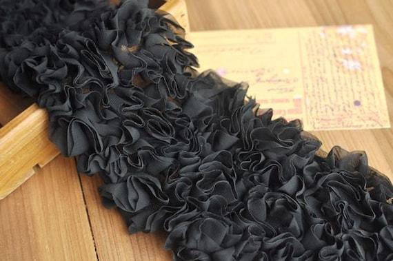 Black Chiffon Ruffled Lace Trim 4.33 Inches Wide 2.5 Yard